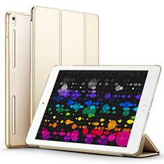 Etui Portefeuille Livre Cuir L02 pour Apple iPad Pro 10.5 Or