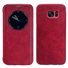 Etui Portefeuille Livre Cuir L02 pour Samsung Galaxy S7 Edge G935F Rouge