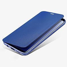 Etui Portefeuille Livre Cuir L02 pour Samsung Galaxy S9 Bleu