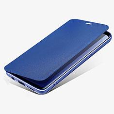 Etui Portefeuille Livre Cuir L02 pour Samsung Galaxy S9 Plus Bleu