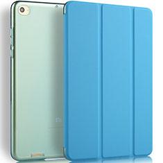 Etui Portefeuille Livre Cuir L02 pour Xiaomi Mi Pad 3 Bleu