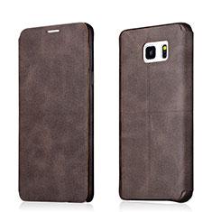 Etui Portefeuille Livre Cuir L03 pour Samsung Galaxy Note 5 N9200 N920 N920F Marron