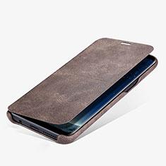 Etui Portefeuille Livre Cuir L03 pour Samsung Galaxy S8 Plus Marron
