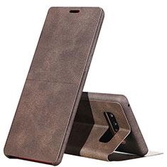 Etui Portefeuille Livre Cuir L04 pour Samsung Galaxy Note 8 Duos N950F Marron