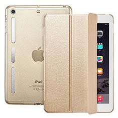 Etui Portefeuille Livre Cuir L05 pour Apple iPad Mini Or