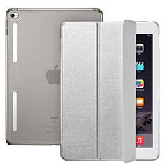 Etui Portefeuille Livre Cuir L06 pour Apple iPad Mini 4 Argent