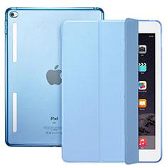 Etui Portefeuille Livre Cuir L06 pour Apple iPad Mini 4 Bleu Ciel