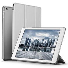 Etui Portefeuille Livre Cuir L06 pour Apple iPad Mini Argent