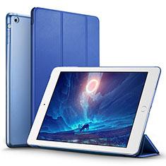 Etui Portefeuille Livre Cuir L06 pour Apple iPad Mini Bleu