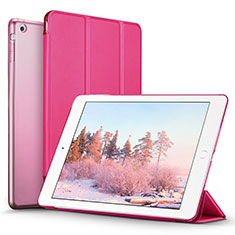 Etui Portefeuille Livre Cuir L06 pour Apple iPad Mini Rose Rouge