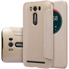 Etui Portefeuille Livre Cuir pour Asus Zenfone 2 Laser 6.0 ZE601KL Or