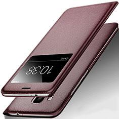 Etui Portefeuille Livre Cuir pour Huawei G9 Plus Marron