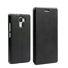 Etui Portefeuille Livre Cuir pour Huawei Honor 7 Dual SIM Noir