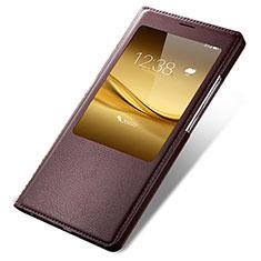 Etui Portefeuille Livre Cuir pour Huawei Mate 8 Marron