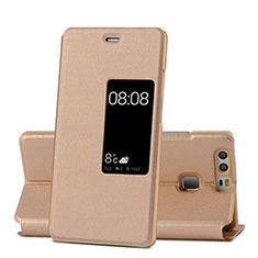 Etui Portefeuille Livre Cuir pour Huawei P9 Or