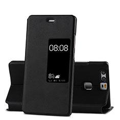 Etui Portefeuille Livre Cuir pour Huawei P9 Plus Noir