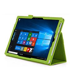 Etui Portefeuille Livre Cuir pour Microsoft Surface Pro 3 Vert