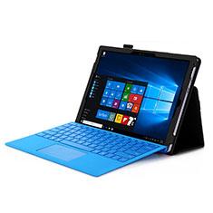 Etui Portefeuille Livre Cuir pour Microsoft Surface Pro 4 Noir