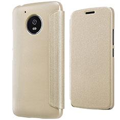 Etui Portefeuille Livre Cuir pour Motorola Moto G5 Or