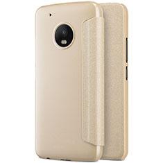 Etui Portefeuille Livre Cuir pour Motorola Moto G5 Plus Or