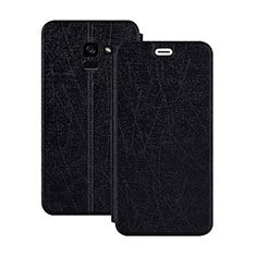 Etui Portefeuille Livre Cuir pour Samsung Galaxy A5 (2018) A530F Noir