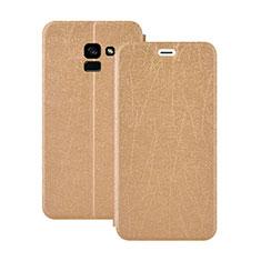 Etui Portefeuille Livre Cuir pour Samsung Galaxy A5 (2018) A530F Or