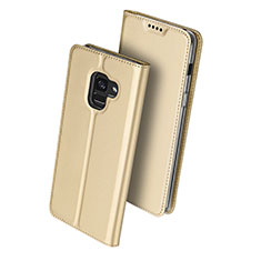 Etui Portefeuille Livre Cuir pour Samsung Galaxy A8+ A8 Plus (2018) Duos A730F Or