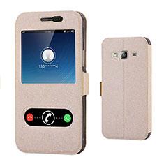 Etui Portefeuille Livre Cuir pour Samsung Galaxy Amp Prime J320P J320M Or