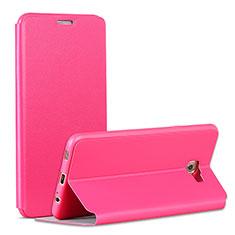 Etui Portefeuille Livre Cuir pour Samsung Galaxy C7 Pro C7010 Rose Rouge