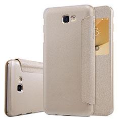 Etui Portefeuille Livre Cuir pour Samsung Galaxy J5 Prime G570F Or