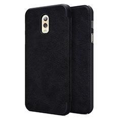 Etui Portefeuille Livre Cuir pour Samsung Galaxy J7 Plus Noir