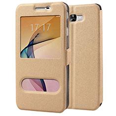 Etui Portefeuille Livre Cuir pour Samsung Galaxy J7 Prime Or