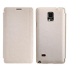 Etui Portefeuille Livre Cuir pour Samsung Galaxy Note 4 Duos N9100 Dual SIM Or