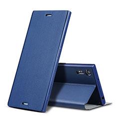 Etui Portefeuille Livre Cuir pour Sony Xperia XZs Bleu