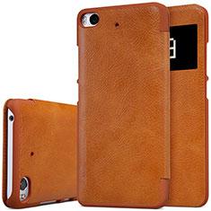 Etui Portefeuille Livre Cuir pour Xiaomi Mi 5S Marron
