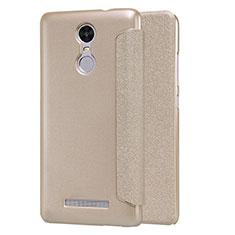 Etui Portefeuille Livre Cuir pour Xiaomi Redmi Note 3 MediaTek Or