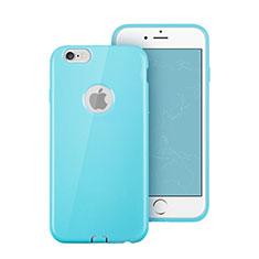 Etui Silicone avec Trou Souple Couleur Unie pour Apple iPhone 6 Bleu Ciel