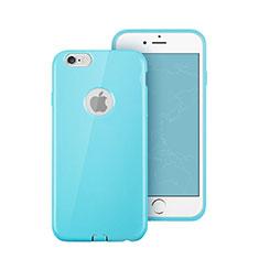 Etui Silicone avec Trou Souple Couleur Unie pour Apple iPhone 6 Plus Bleu Ciel