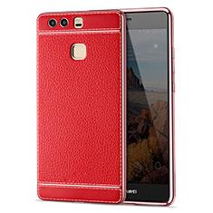 Etui Silicone Gel Motif Cuir pour Huawei P9 Rouge