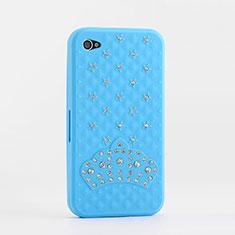 Etui Silicone Souple Strass Diamant Bling pour Apple iPhone 4 Bleu Ciel