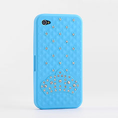 Etui Silicone Souple Strass Diamant Bling pour Apple iPhone 4S Bleu Ciel