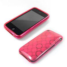 Etui Silicone Souple Vague Cercle Transparente pour Apple iPhone 3G 3GS Rose