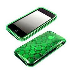 Etui Silicone Souple Vague Cercle Transparente pour Apple iPhone 3G 3GS Vert