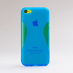 Etui Silicone Transparente Vague pour Apple iPhone 5C Bleu