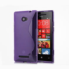 Etui TPU Souple Transparente Vague S-Line pour HTC 8X Windows Phone Violet