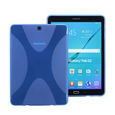 Etui TPU Souple Transparente Vague X-Line pour Samsung Galaxy Tab S2 8.0 SM-T710 SM-T715 Bleu