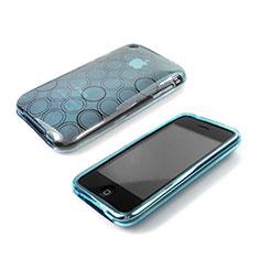 Etui TPU Souple Vague Cercle Transparente pour Apple iPhone 3G 3GS Bleu Ciel