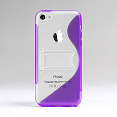 Etui TPU Transparente Vague S-Line avec Bequille pour Apple iPhone 5C Violet