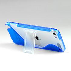 Etui TPU Transparente Vague S-Line avec Bequille pour Apple iPod Touch 5 Bleu