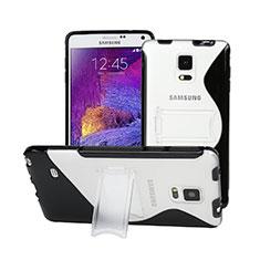 Etui TPU Transparente Vague S-Line avec Bequille pour Samsung Galaxy Note 4 SM-N910F Noir
